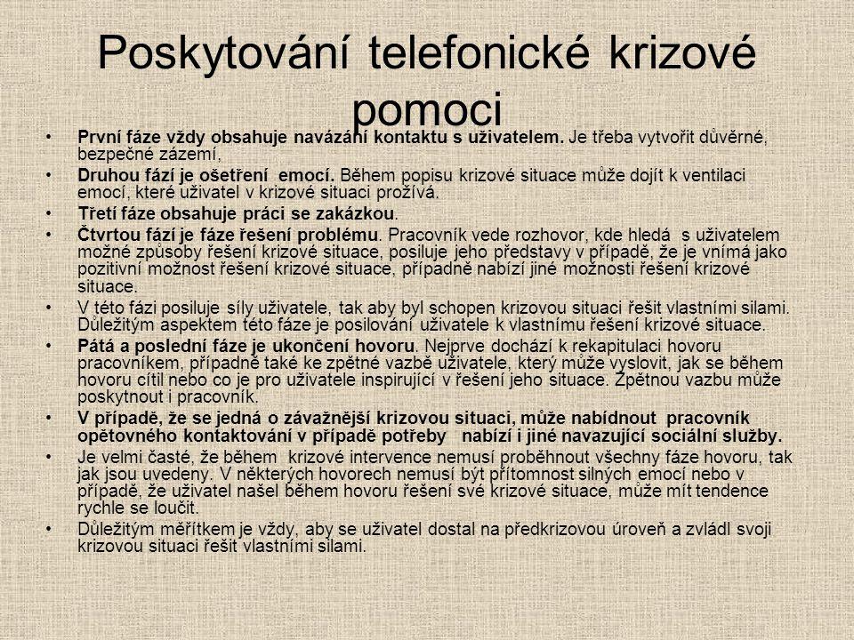 Poskytování telefonické krizové pomoci První fáze vždy obsahuje navázání kontaktu s uživatelem. Je třeba vytvořit důvěrné, bezpečné zázemí, Druhou fáz