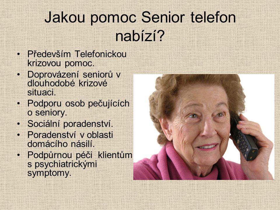 Jakou pomoc Senior telefon nabízí? Především Telefonickou krizovou pomoc. Doprovázení seniorů v dlouhodobé krizové situaci. Podporu osob pečujících o