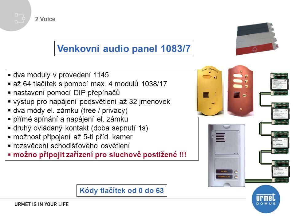 Venkovní audio panel 1083/7  dva moduly v provedení 1145  až 64 tlačítek s pomocí max.