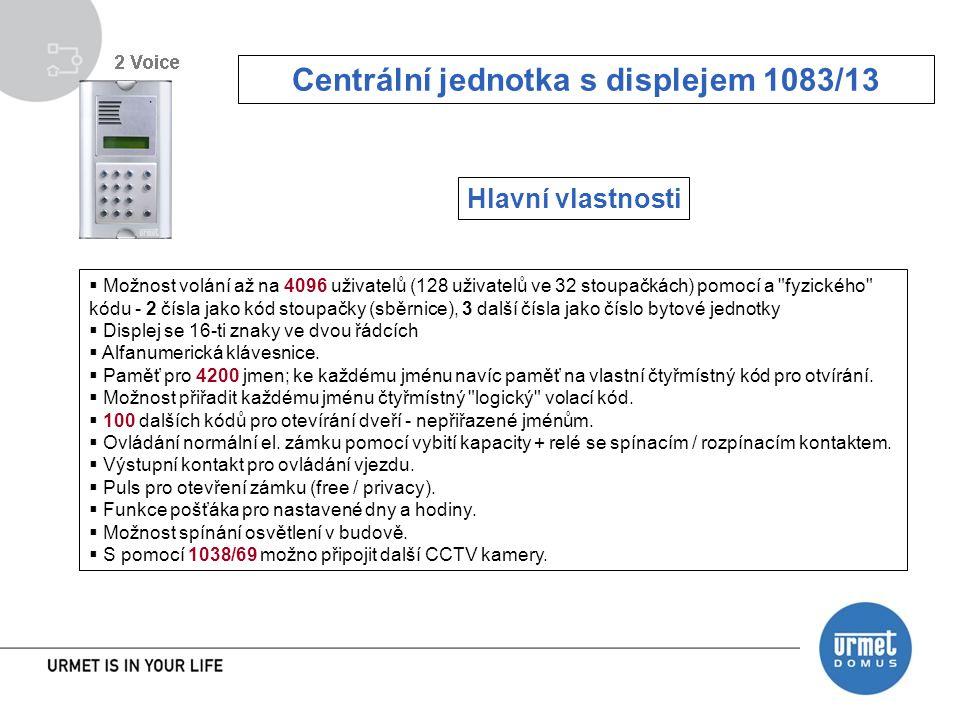  Možnost volání až na 4096 uživatelů (128 uživatelů ve 32 stoupačkách) pomocí a fyzického kódu - 2 čísla jako kód stoupačky (sběrnice), 3 další čísla jako číslo bytové jednotky  Displej se 16-ti znaky ve dvou řádcích  Alfanumerická klávesnice.