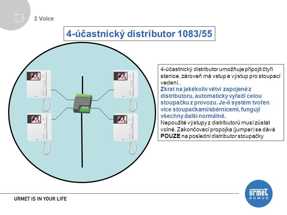 4-účastnický distributor 1083/55 4-účastnický distributor umožňuje připojit čtyři stanice, zároveň má vstup a výstup pro stoupací vedení..