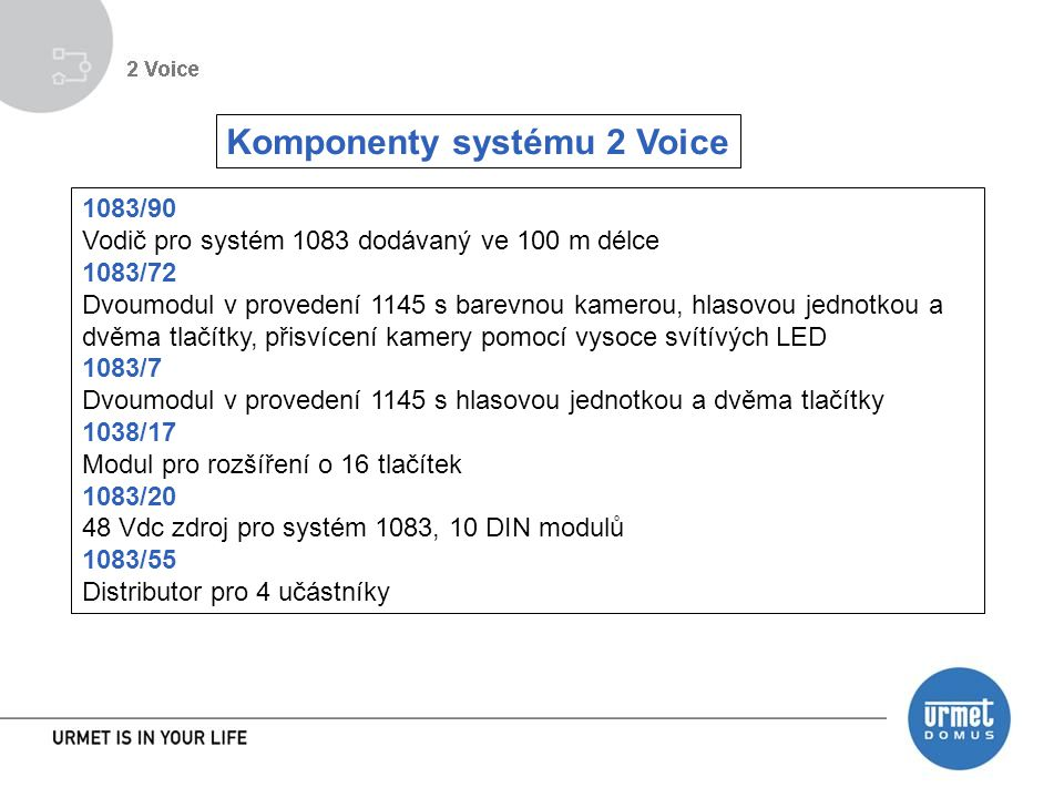 Komponenty systému 2 Voice 1083/90 Vodič pro systém 1083 dodávaný ve 100 m délce 1083/72 Dvoumodul v provedení 1145 s barevnou kamerou, hlasovou jednotkou a dvěma tlačítky, přisvícení kamery pomocí vysoce svítívých LED 1083/7 Dvoumodul v provedení 1145 s hlasovou jednotkou a dvěma tlačítky 1038/17 Modul pro rozšíření o 16 tlačítek 1083/20 48 Vdc zdroj pro systém 1083, 10 DIN modulů 1083/55 Distributor pro 4 učástníky