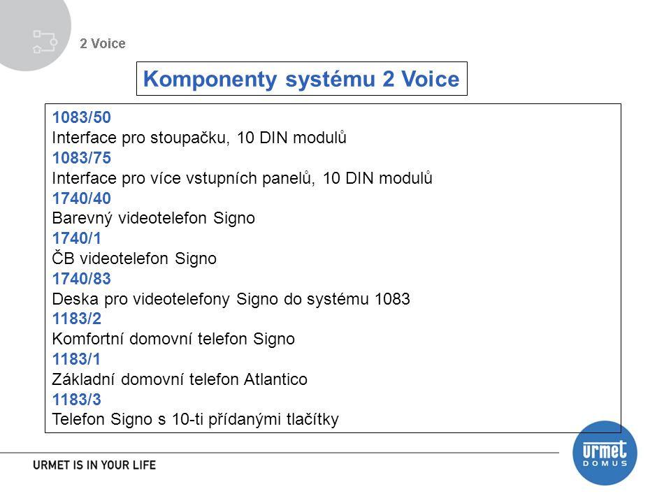 1083/50 Interface pro stoupačku, 10 DIN modulů 1083/75 Interface pro více vstupních panelů, 10 DIN modulů 1740/40 Barevný videotelefon Signo 1740/1 ČB videotelefon Signo 1740/83 Deska pro videotelefony Signo do systému 1083 1183/2 Komfortní domovní telefon Signo 1183/1 Základní domovní telefon Atlantico 1183/3 Telefon Signo s 10-ti přídanými tlačítky Komponenty systému 2 Voice