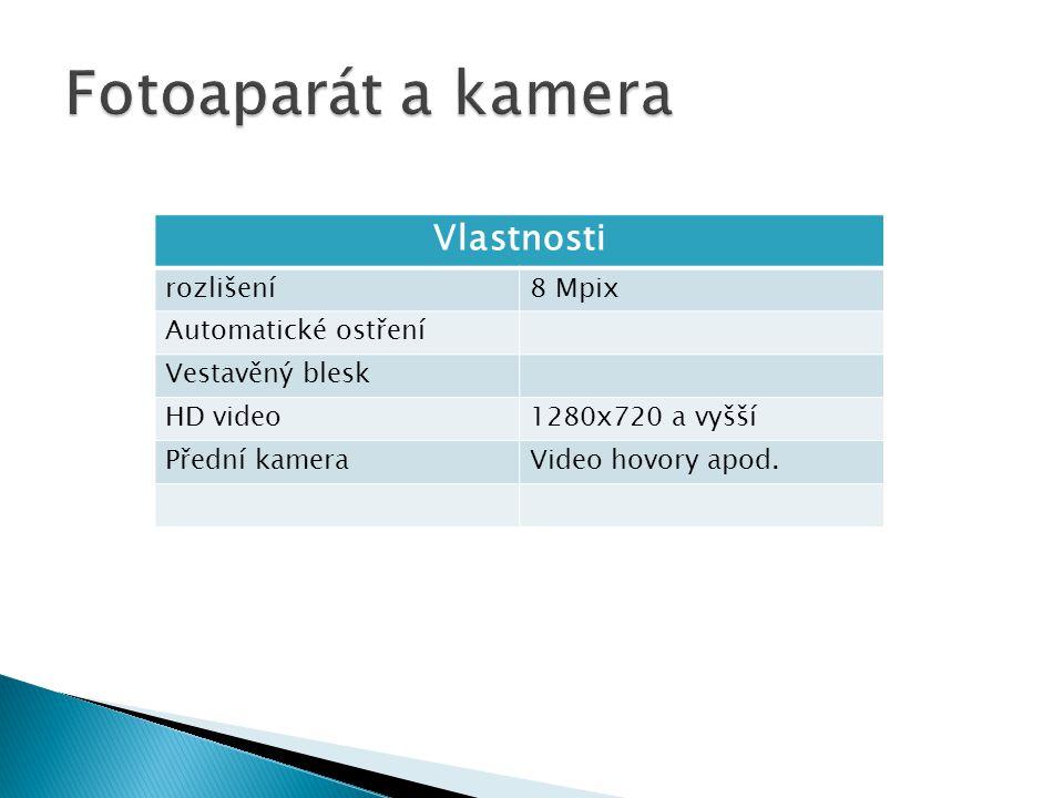 Vlastnosti rozlišení8 Mpix Automatické ostření Vestavěný blesk HD video1280x720 a vyšší Přední kameraVideo hovory apod.