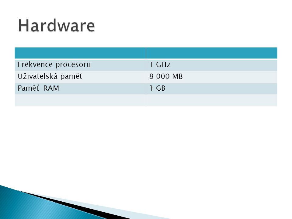 Frekvence procesoru1 GHz Uživatelská paměť8 000 MB Paměť RAM1 GB