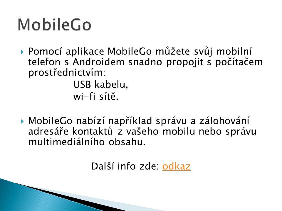  Pomocí aplikace MobileGo můžete svůj mobilní telefon s Androidem snadno propojit s počítačem prostřednictvím: USB kabelu, wi-fi sítě.  MobileGo nab