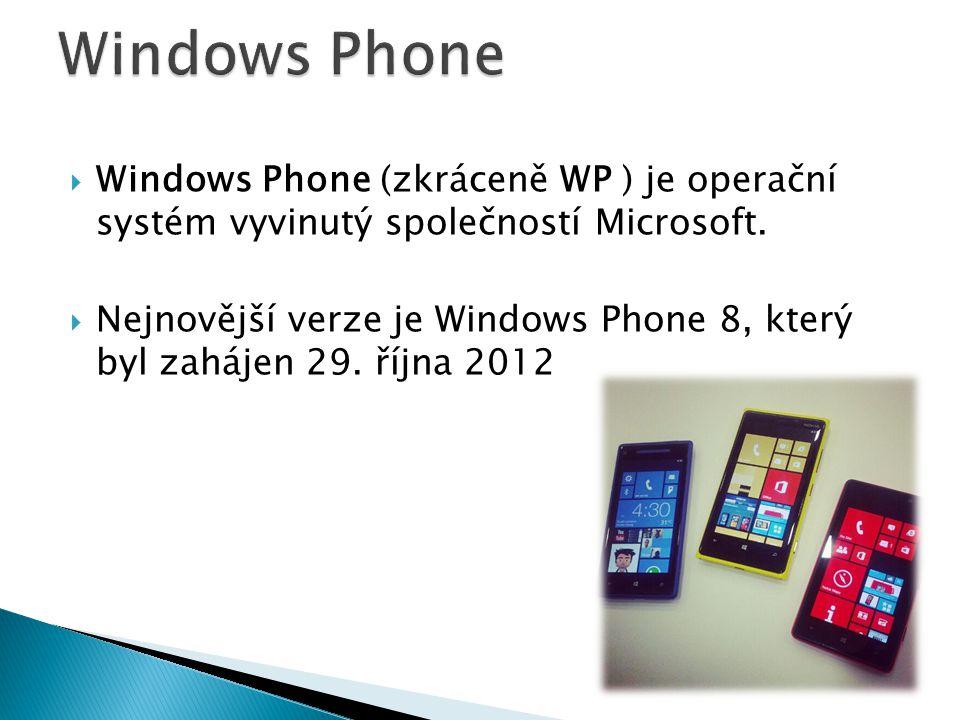  Windows Phone (zkráceně WP ) je operační systém vyvinutý společností Microsoft.  Nejnovější verze je Windows Phone 8, který byl zahájen 29. října 2