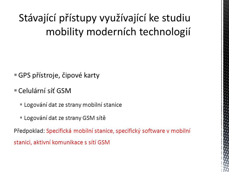  GPS přístroje, čipové karty  Celulární síť GSM  Logování dat ze strany mobilní stanice  Logování dat ze strany GSM sítě Předpoklad: Specifická mo