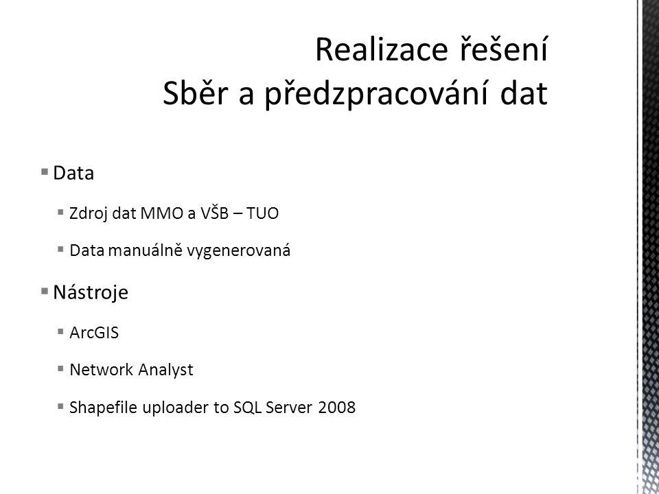  Data  Zdroj dat MMO a VŠB – TUO  Data manuálně vygenerovaná  Nástroje  ArcGIS  Network Analyst  Shapefile uploader to SQL Server 2008