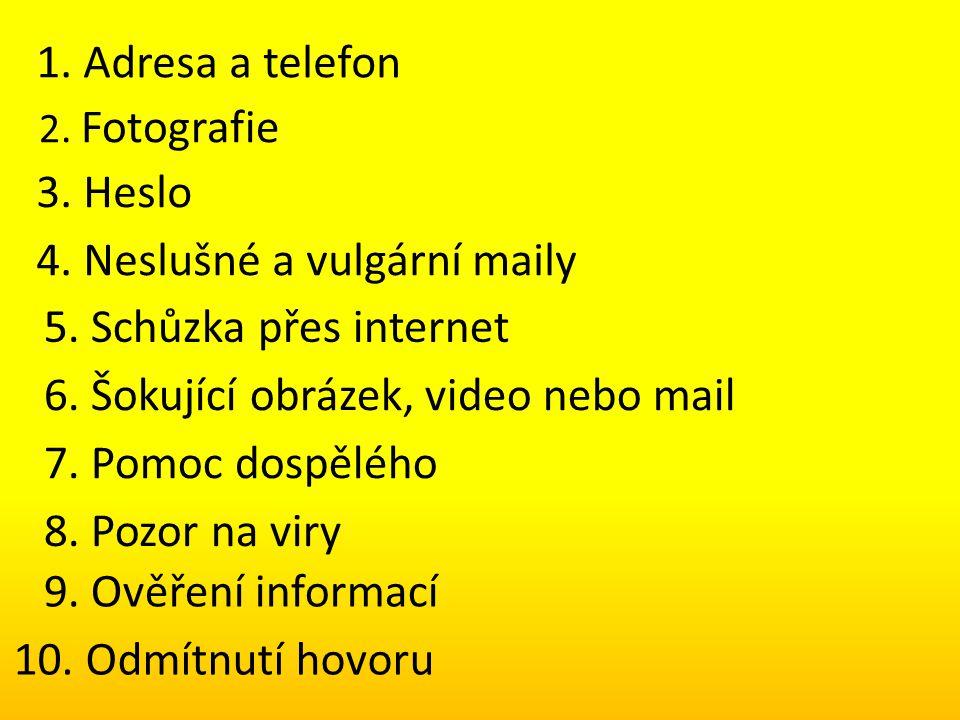 1. Adresa a telefon 2. Fotografie 3. Heslo 4. Neslušné a vulgární maily 5. Schůzka přes internet 6. Šokující obrázek, video nebo mail 7. Pomoc dospělé