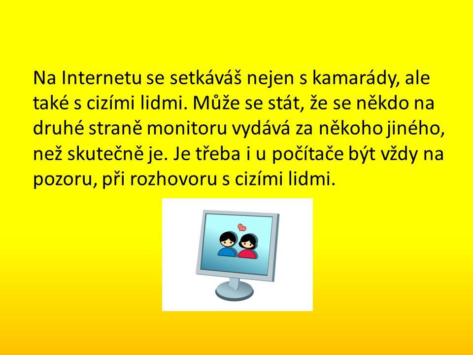 Na Internetu se setkáváš nejen s kamarády, ale také s cizími lidmi. Může se stát, že se někdo na druhé straně monitoru vydává za někoho jiného, než sk