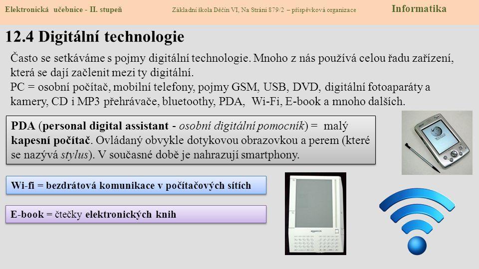 12.4 Digitální technologie Elektronická učebnice - II. stupeň Základní škola Děčín VI, Na Stráni 879/2 – příspěvková organizace Informatika Často se s