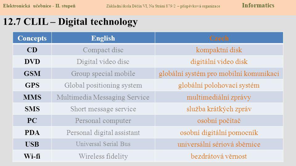 12.8 Test – Digitální technologie 1) Jaké zařízení nepatří mezi digitální technologie.