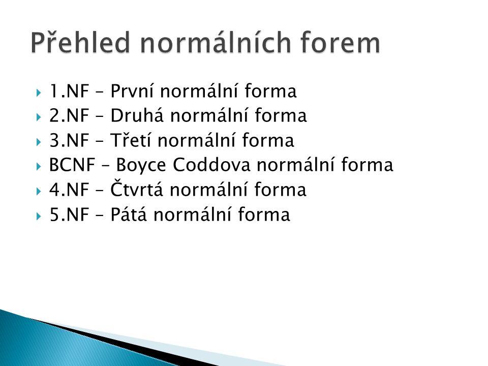  1.NF – První normální forma  2.NF – Druhá normální forma  3.NF – Třetí normální forma  BCNF – Boyce Coddova normální forma  4.NF – Čtvrtá normální forma  5.NF – Pátá normální forma