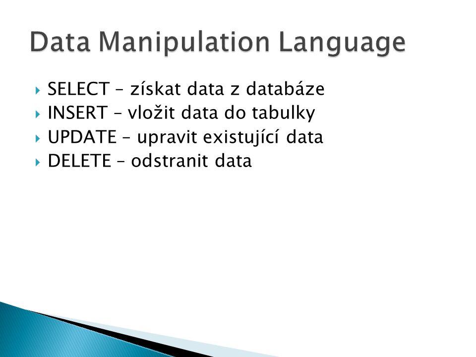  SELECT – získat data z databáze  INSERT – vložit data do tabulky  UPDATE – upravit existující data  DELETE – odstranit data