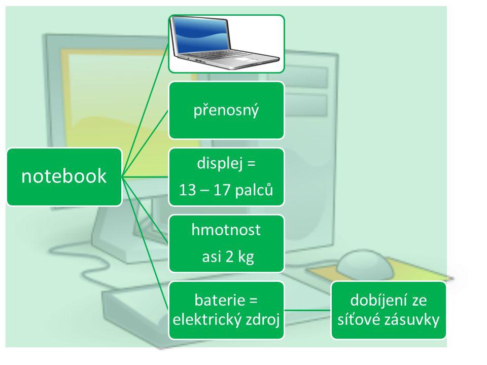 notebook přenosný displej = 13 – 17 palců hmotnost asi 2 kg baterie = elektrický zdroj dobíjení ze síťové zásuvky
