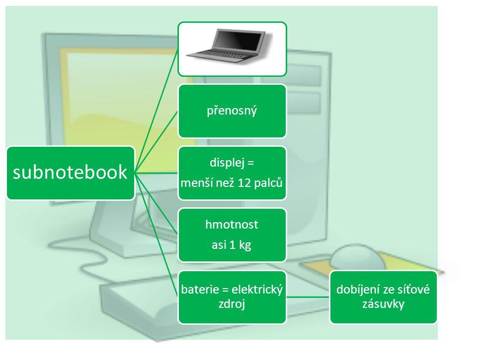 kapesní počítač kapesní počítač superpočítač notebook Označ správné řešení: