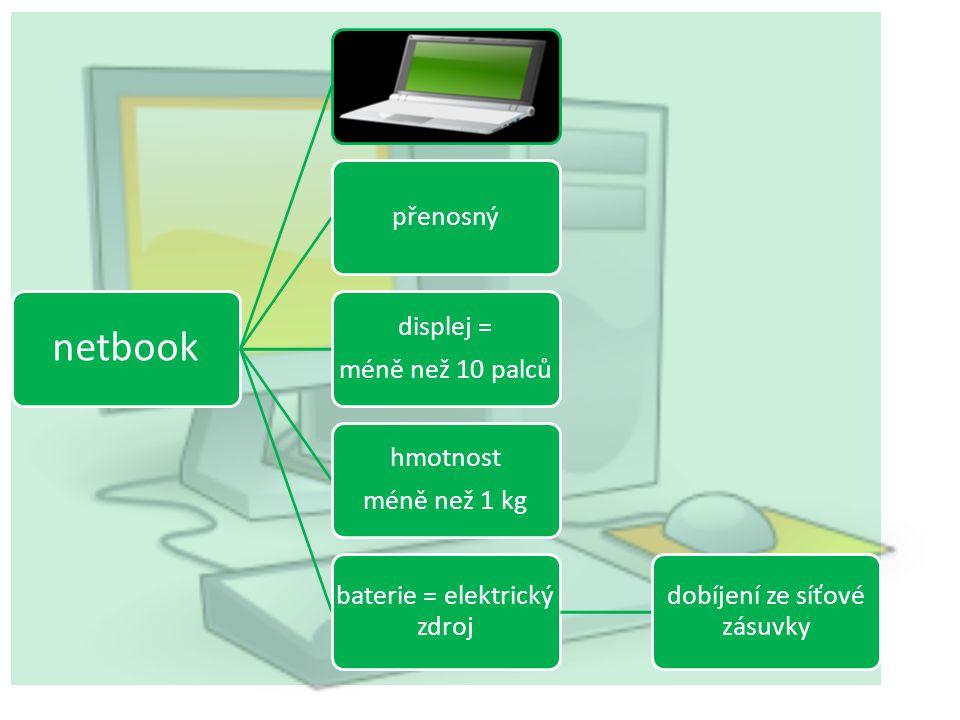 netbook přenosný displej = méně než 10 palců hmotnost méně než 1 kg baterie = elektrický zdroj dobíjení ze síťové zásuvky