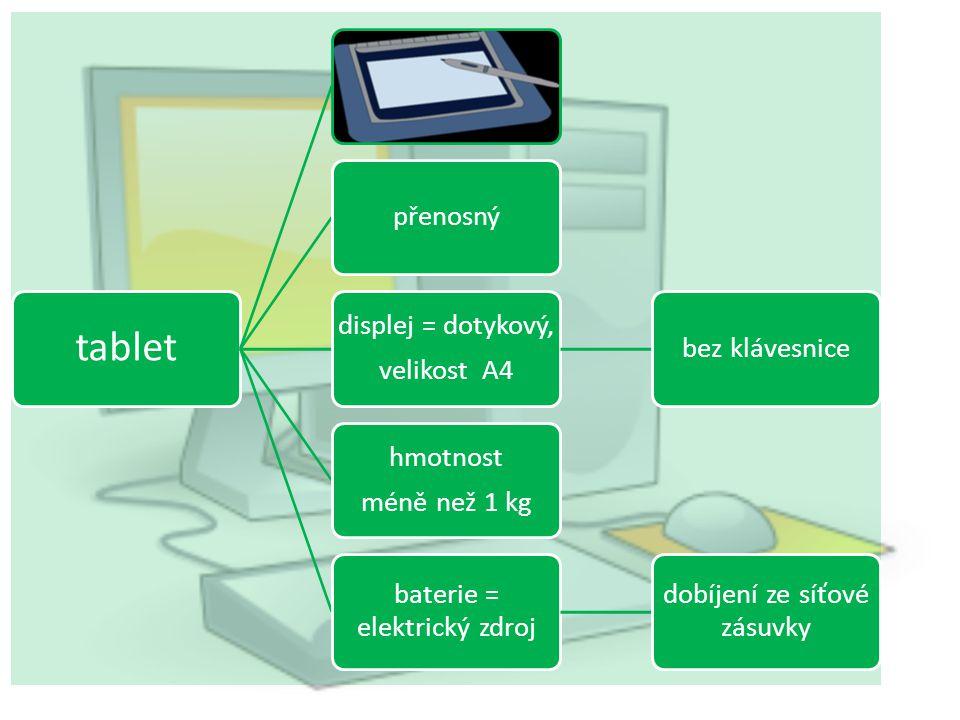 mobilní telefon přenosnýtelefonování textové zprávy, obrazové zprávy budík, fotografie, přehrávač, rádio, internet, … barevný displej hmotnost asi 100 g baterie = elektrický zdroj dobíjení ze síťové zásuvky