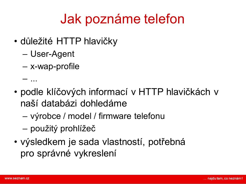 www.seznam.cz … najdu tam, co neznám ! Jak poznáme telefon důležité HTTP hlavičky – User-Agent – x-wap-profile –... podle klíčových informací v HTTP h