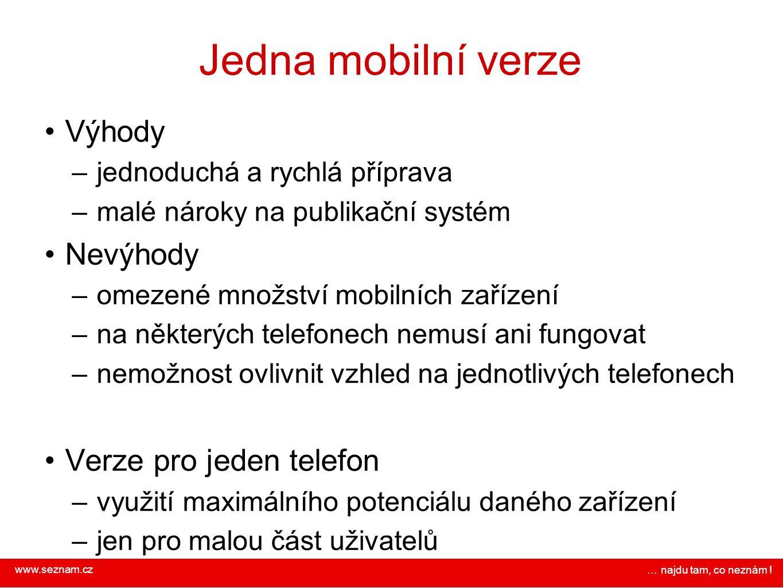 www.seznam.cz … najdu tam, co neznám ! Jedna mobilní verze Výhody – jednoduchá a rychlá příprava – malé nároky na publikační systém Nevýhody – omezené