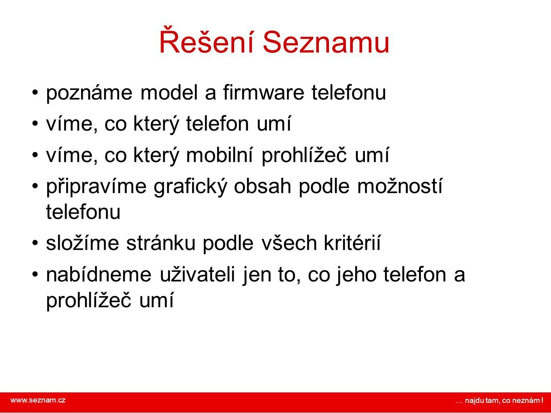 www.seznam.cz … najdu tam, co neznám ! Řešení Seznamu poznáme model a firmware telefonu víme, co který telefon umí víme, co který mobilní prohlížeč um