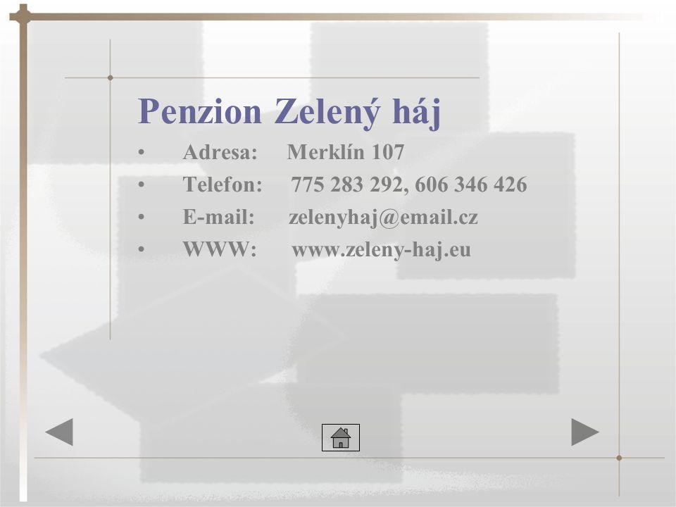 Penzion Zelený háj Adresa: Merklín 107 Telefon: 775 283 292, 606 346 426 E-mail: zelenyhaj@email.cz WWW: www.zeleny-haj.eu