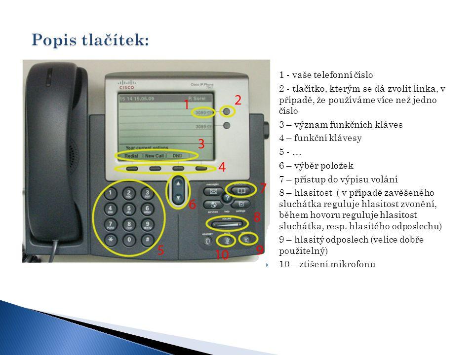 """Redial – vytočí poslední volané číslo DND – Dont Disturb – vypíná zvonění když si nepřejete býti rušen/a Když vyťukáte telefonní číslo, s položeným sluchátkem, stačí sluchátko jen zvednout a telefon číslo vytočí, stejně tak i v případe že si telefonní číslo vylistujete v seznamu přijatých, nepřijatých či volaných číslech Tlačítko """"Hold podrží hovor a můžete uskutečnit hovor jiný."""