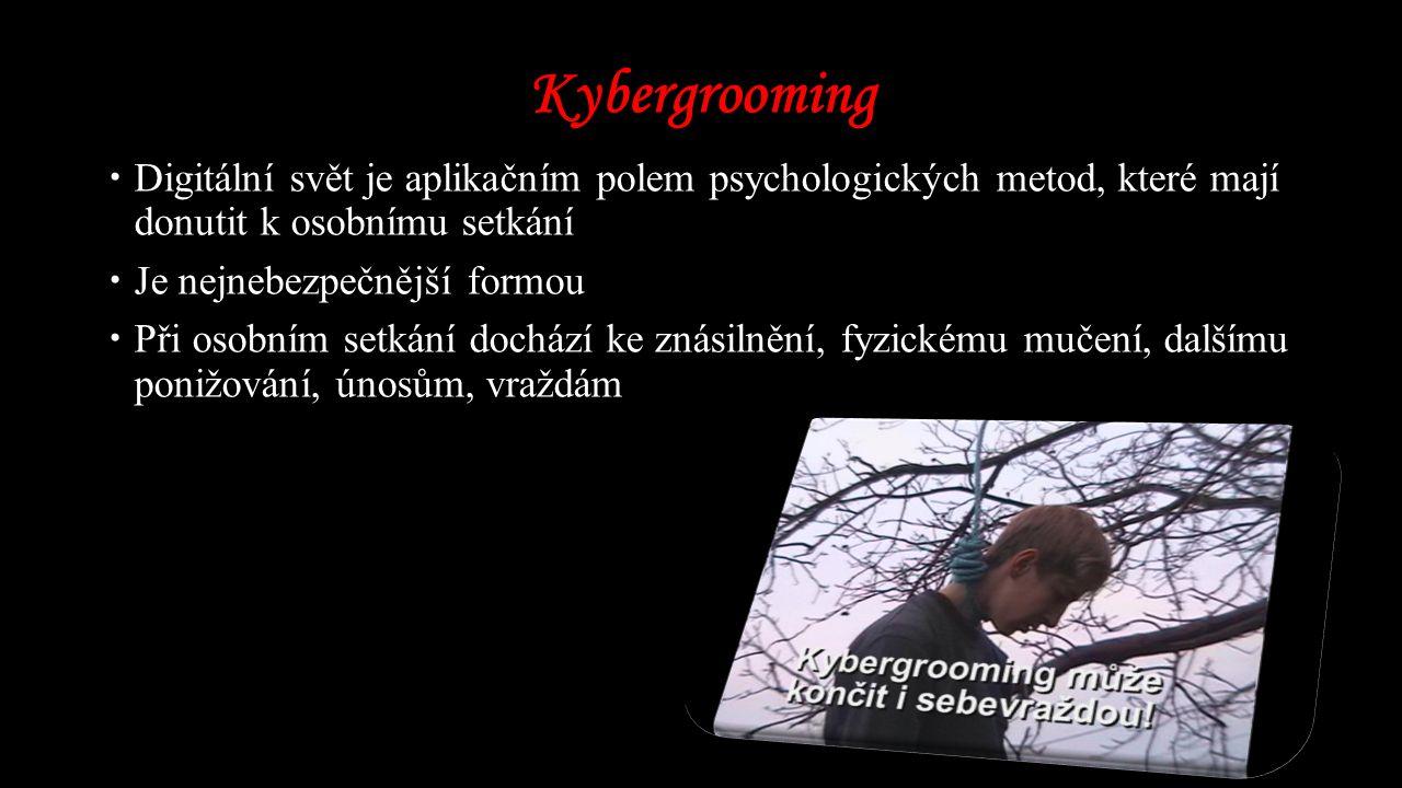 Kybergrooming  Digitální svět je aplikačním polem psychologických metod, které mají donutit k osobnímu setkání  Je nejnebezpečnější formou  Při osobním setkání dochází ke znásilnění, fyzickému mučení, dalšímu ponižování, únosům, vraždám