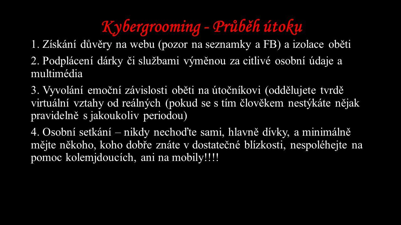 Kybergrooming - Průběh útoku 1.Získání důvěry na webu (pozor na seznamky a FB) a izolace oběti 2.