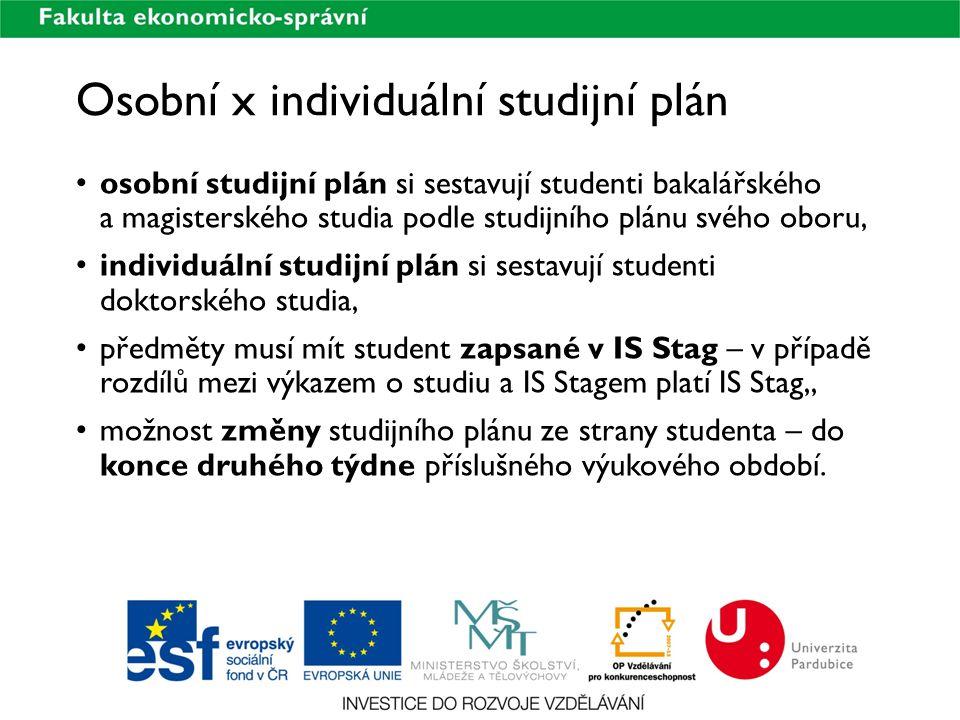 Osobní x individuální studijní plán osobní studijní plán si sestavují studenti bakalářského a magisterského studia podle studijního plánu svého oboru,