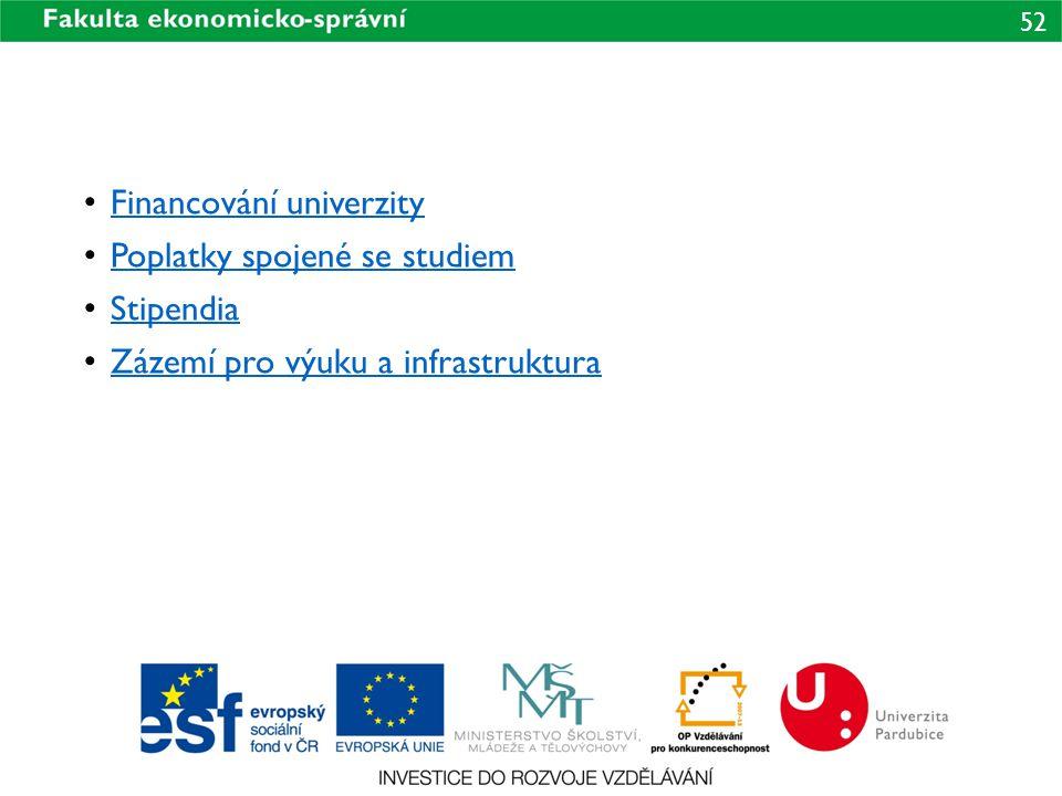 52 Financování univerzity Poplatky spojené se studiem Stipendia Zázemí pro výuku a infrastruktura