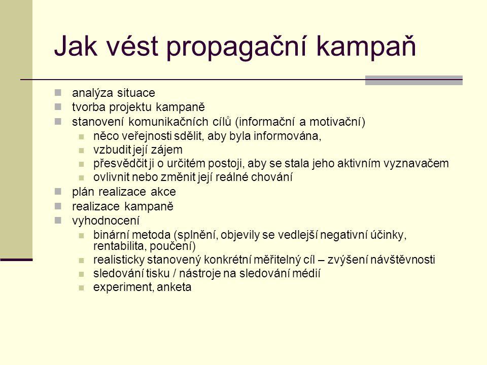 Jak vést propagační kampaň analýza situace tvorba projektu kampaně stanovení komunikačních cílů (informační a motivační) něco veřejnosti sdělit, aby b