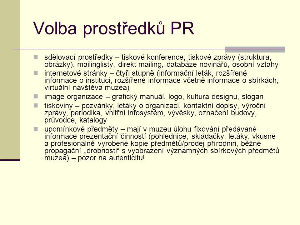 """Volba prostředků PR sdělovací prostředky – tiskové konference, tiskové zprávy (struktura, obrázky), mailinglisty, direkt mailing, databáze novinářů, osobní vztahy internetové stránky – čtyři stupně (informační leták, rozšířené informace o instituci, rozšířené informace včetně informace o sbírkách, virtuální návštěva muzea) image organizace – grafický manuál, logo, kultura designu, slogan tiskoviny – pozvánky, letáky o organizaci, kontaktní dopisy, výroční zprávy, periodika, vnitřní infosystém, vývěsky, označení budovy, průvodce, katalogy upomínkové předměty – mají v muzeu úlohu fixování předávané informace prezentační činností (pohlednice, skládačky, letáky, vkusné a profesionálně vyrobené kopie předmětů/prodej přírodnin, běžné propagační """"drobnosti s vyobrazení významných sbírkových předmětů muzea) – pozor na autenticitu!"""