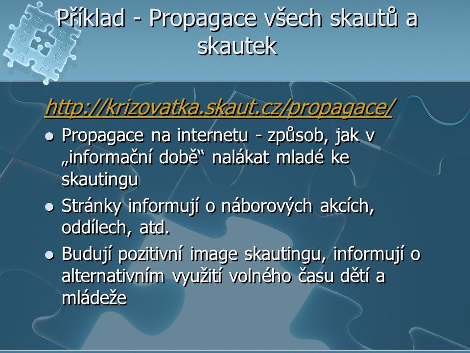 """Příklad - Propagace všech skautů a skautek http://krizovatka.skaut.cz/propagace/ Propagace na internetu - způsob, jak v """"informační době"""" nalákat mlad"""