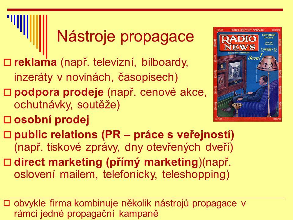  reklama (např.televizní, bilboardy, inzeráty v novinách, časopisech)  podpora prodeje (např.