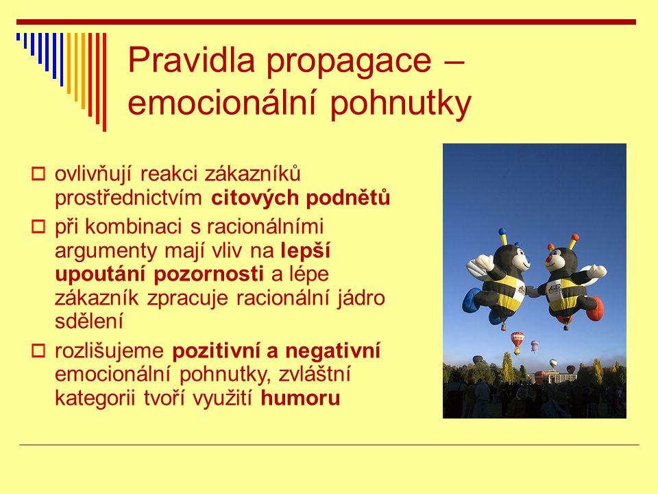 Pravidla propagace – emocionální pohnutky  ovlivňují reakci zákazníků prostřednictvím citových podnětů  při kombinaci s racionálními argumenty mají vliv na lepší upoutání pozornosti a lépe zákazník zpracuje racionální jádro sdělení  rozlišujeme pozitivní a negativní emocionální pohnutky, zvláštní kategorii tvoří využití humoru