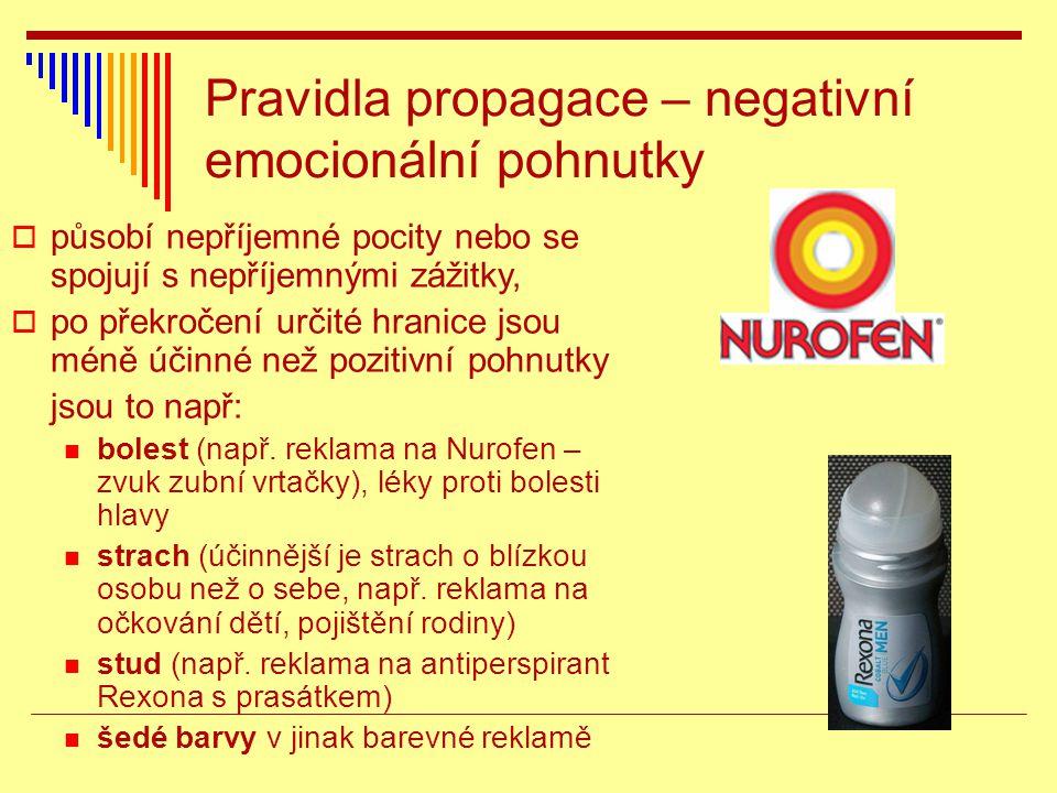 Pravidla propagace – negativní emocionální pohnutky  působí nepříjemné pocity nebo se spojují s nepříjemnými zážitky,  po překročení určité hranice jsou méně účinné než pozitivní pohnutky jsou to např: bolest (např.