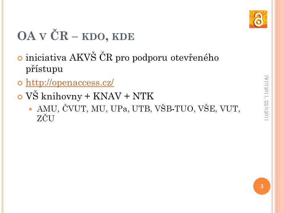 OA V ČR – KDO, KDE iniciativa AKVŠ ČR pro podporu otevřeného přístupu http://openaccess.cz/ VŠ knihovny + KNAV + NTK AMU, ČVUT, MU, UPa, UTB, VŠB-TUO, VŠE, VUT, ZČU 3 IVIG 2011, 22.9.2011