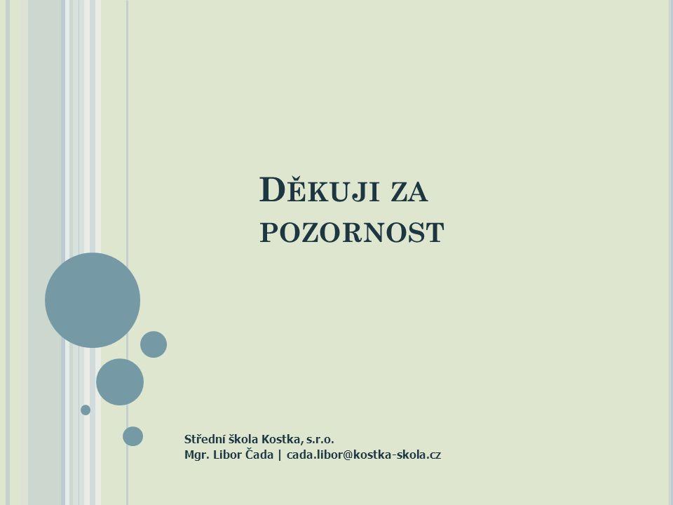 D ĚKUJI ZA POZORNOST Střední škola Kostka, s.r.o. Mgr. Libor Čada | cada.libor@kostka-skola.cz