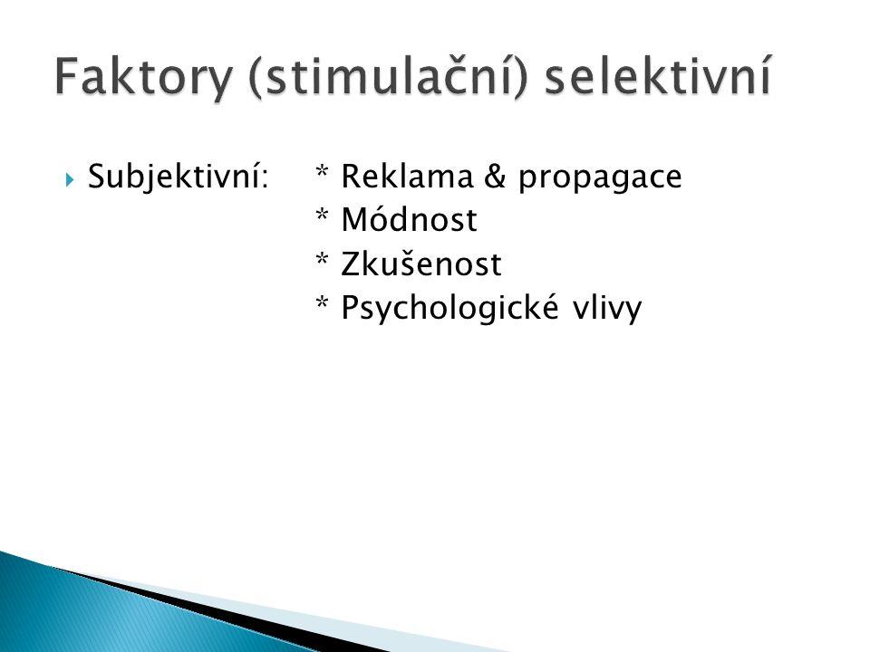  Subjektivní: * Reklama & propagace * Módnost * Zkušenost * Psychologické vlivy