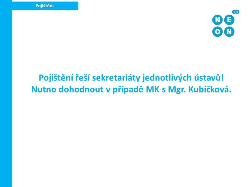 Pojištění Pojištění řeší sekretariáty jednotlivých ústavů! Nutno dohodnout v případě MK s Mgr. Kubíčková.