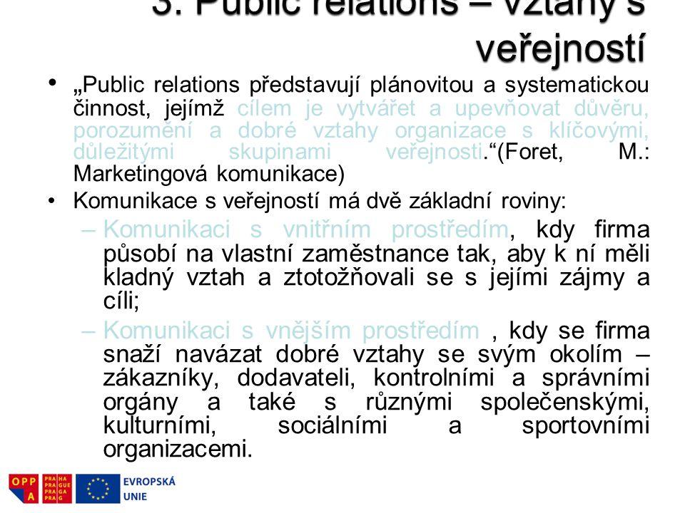 """"""" Public relations představují plánovitou a systematickou činnost, jejímž cílem je vytvářet a upevňovat důvěru, porozumění a dobré vztahy organizace s"""