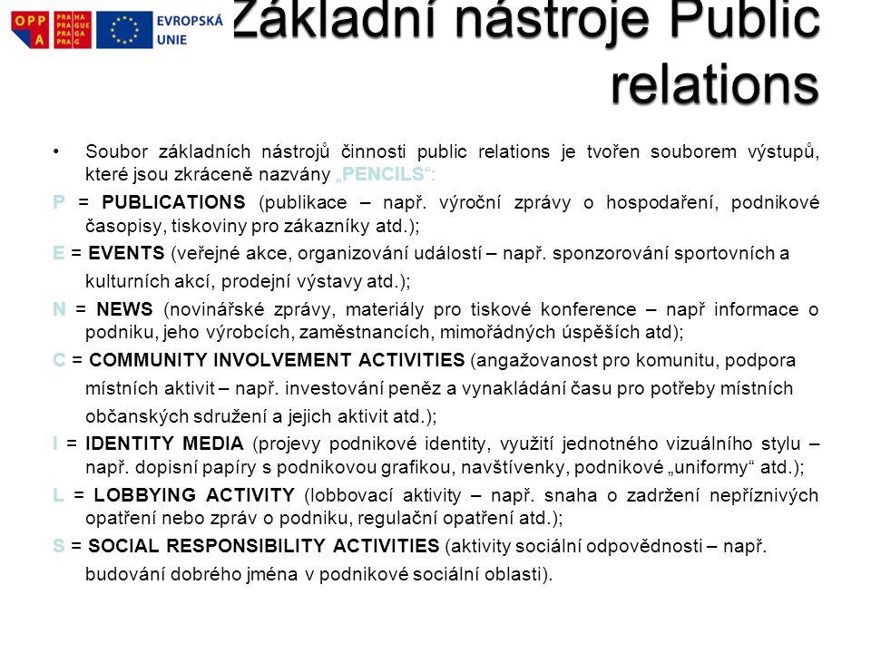 """Soubor základních nástrojů činnosti public relations je tvořen souborem výstupů, které jsou zkráceně nazvány """"PENCILS"""": P = PUBLICATIONS (publikace –"""