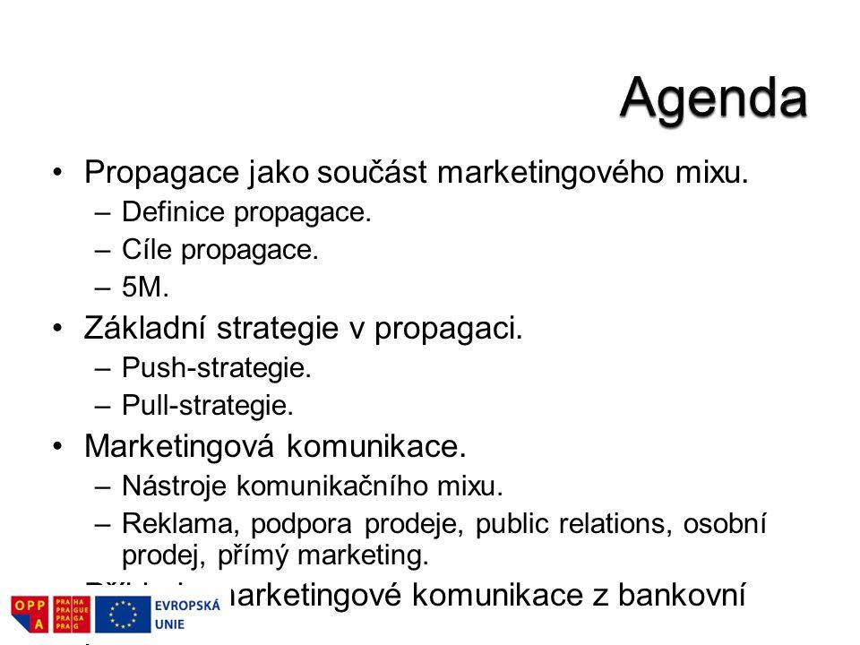 Propagace jako součást marketingového mixu. –Definice propagace. –Cíle propagace. –5M. Základní strategie v propagaci. –Push-strategie. –Pull-strategi