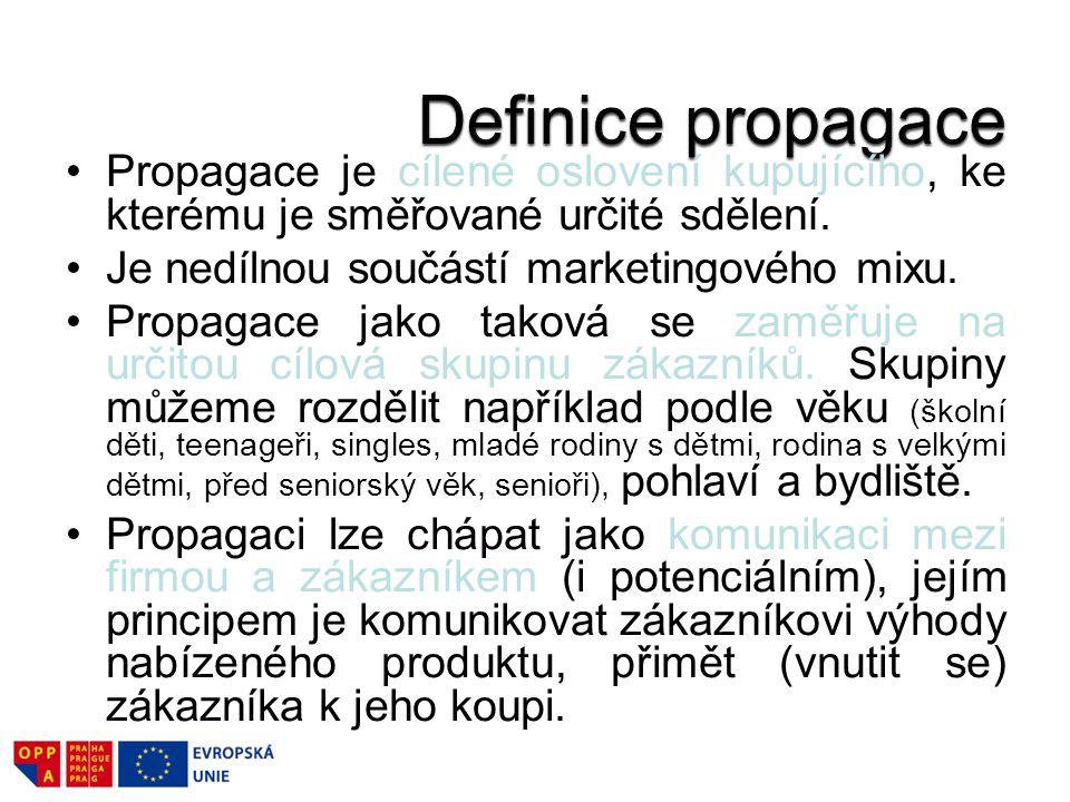 Propagace je cílené oslovení kupujícího, ke kterému je směřované určité sdělení. Je nedílnou součástí marketingového mixu. Propagace jako taková se za