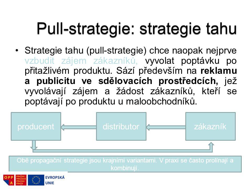 Strategie tahu (pull-strategie) chce naopak nejprve vzbudit zájem zákazníků, vyvolat poptávku po přitažlivém produktu. Sází především na reklamu a pub