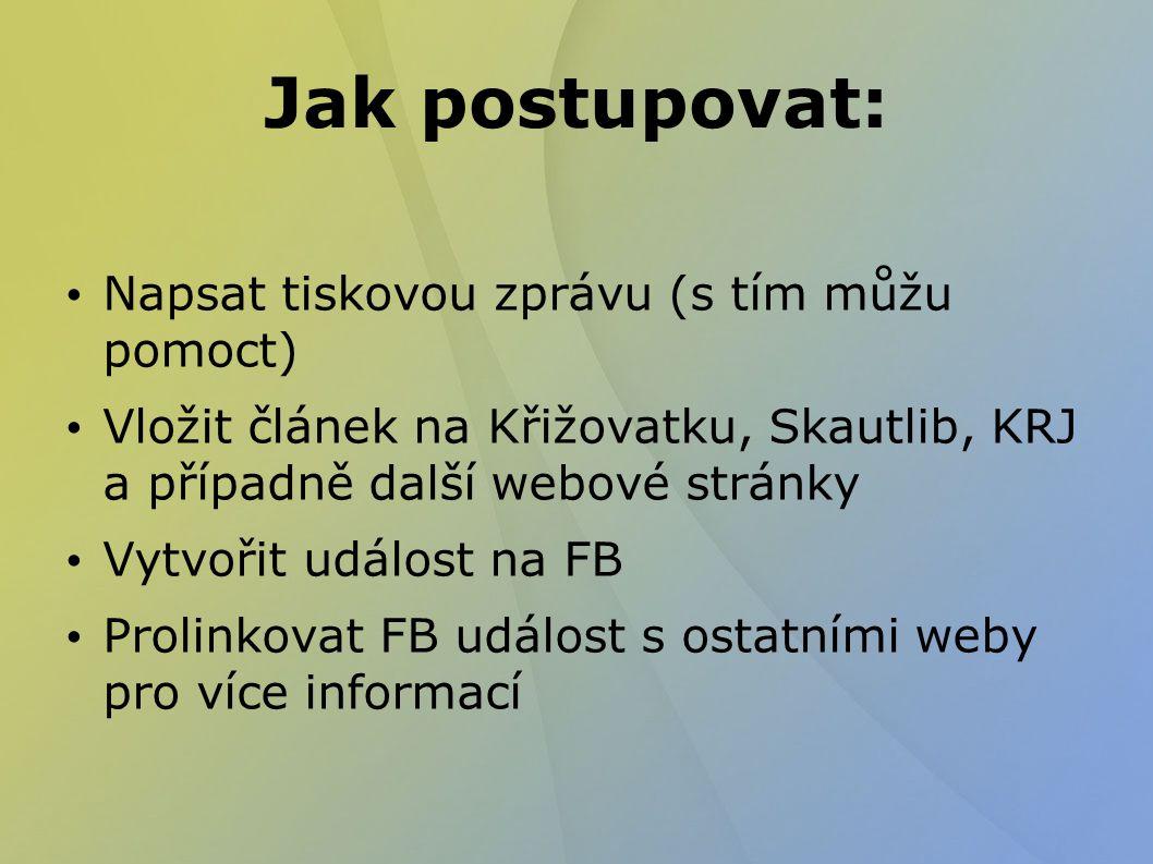 Jak postupovat: Napsat tiskovou zprávu (s tím můžu pomoct) Vložit článek na Křižovatku, Skautlib, KRJ a případně další webové stránky Vytvořit událost na FB Prolinkovat FB událost s ostatními weby pro více informací