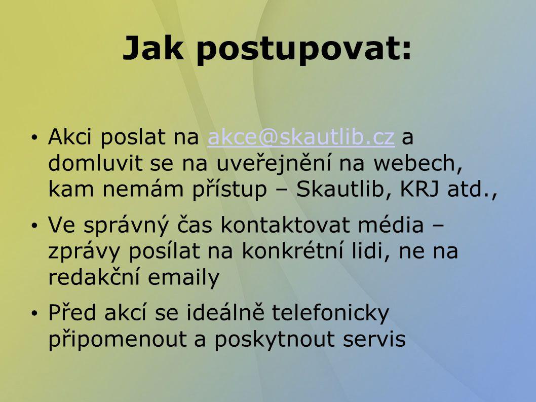 Jak postupovat: Akci poslat na akce@skautlib.cz a domluvit se na uveřejnění na webech, kam nemám přístup – Skautlib, KRJ atd.,akce@skautlib.cz Ve správný čas kontaktovat média – zprávy posílat na konkrétní lidi, ne na redakční emaily Před akcí se ideálně telefonicky připomenout a poskytnout servis