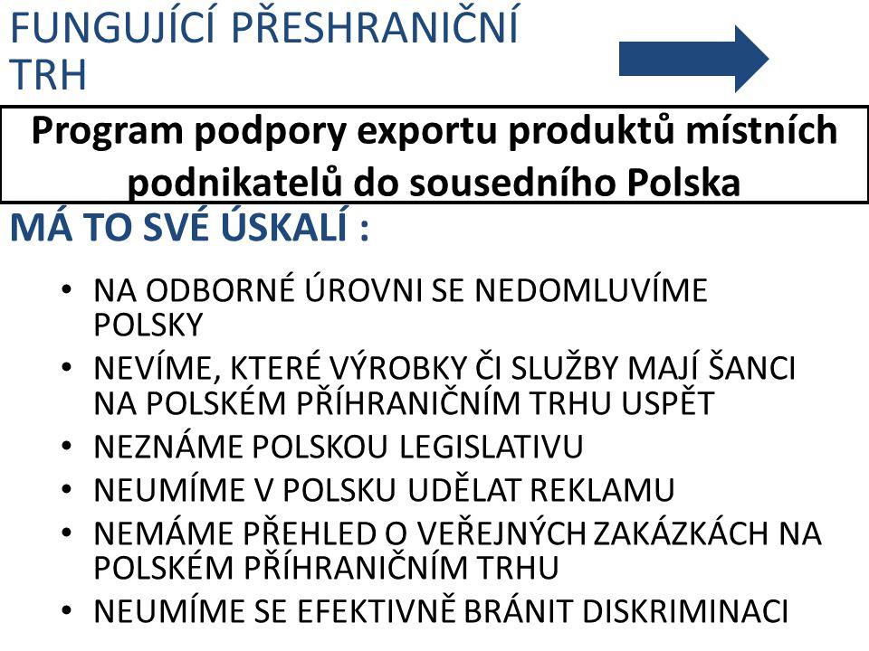 Program podpory exportu produktů místních podnikatelů do sousedního Polska FUNGUJÍCÍ PŘESHRANIČNÍ TRH MÁ TO SVÉ ÚSKALÍ : NA ODBORNÉ ÚROVNI SE NEDOMLUV